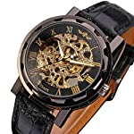 Gute Classic Steampunk Bling Automatic Mechanical Wristwatch See Through Skeleton Automatic Unisex Watch (Gold Black) 9