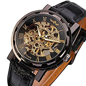 Gute Classic Steampunk Bling Automatic Mechanical Wristwatch See Through Skeleton Automatic Unisex Watch (Gold)