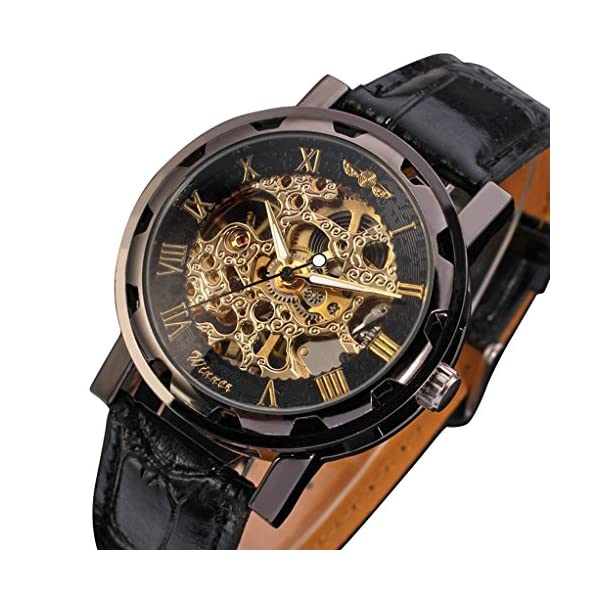 Gute Classic Steampunk Bling Automatic Mechanical Wristwatch See Through Skeleton Automatic Unisex Watch (Gold Black) 3