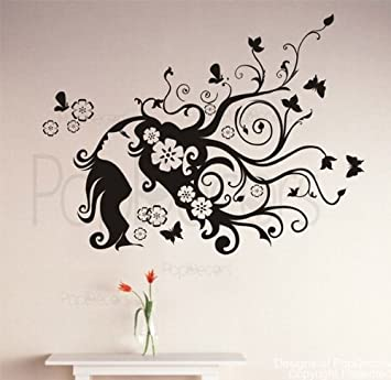 Popdecors flower girl custom beautiful tree wall decals for kids rooms teen girls boys