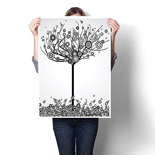 Modern Canvas Painting Wall Art,Life Decor Abstract Tree with Circle Leaves and Round Plants Spiral Dot Illustration Oils,Wall Stickers,32
