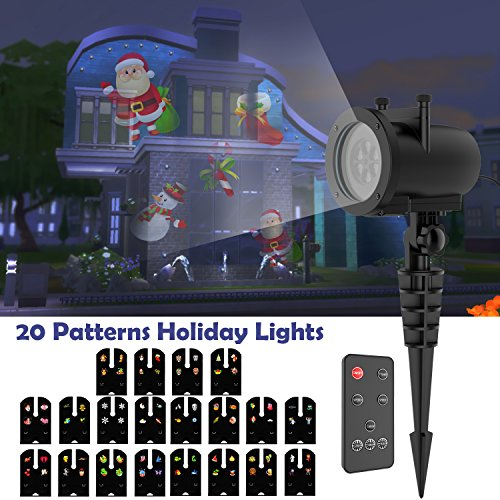 Christmas Projector Lights, Waterproof Outdoor Indoor Motion LED Projector, Holiday Light Party Outdoor Garden House Apartment Kids Room Night Light Night Decoration, 20 -