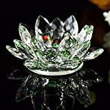 120mm Diameter Crystal Lotus Flower Candlestick Holders Candleholders with Box (Green)