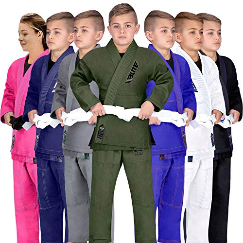 Elite Sports Kids BJJ GI, GIS for Youth Jiu Jitsu IBJJF Children's Lightweight Brazilian Jiujitsu Kimono W/Preshrunk Fabric & Free Belt (Military Green, C3)