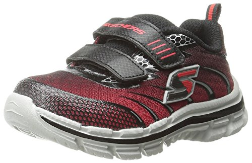Skechers Kids Nitrate Top Speed Double Strap Athletic Sneaker (Toddler),Red/Black,