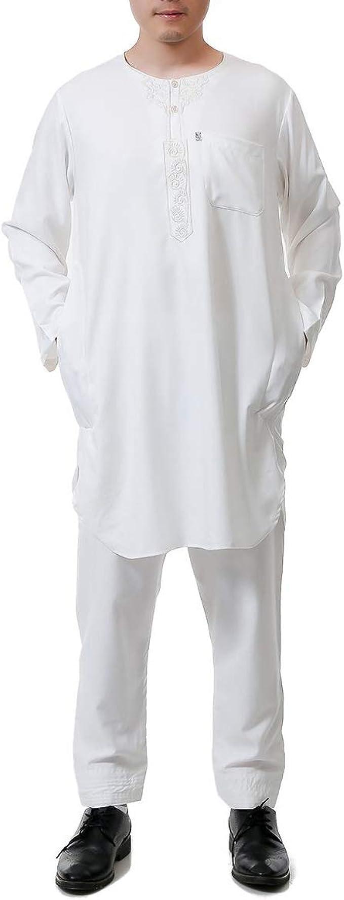 MEYINI Hombre Traje árabe Musulmán con Conjunto de Pantalones - Islámico Kaftan Traje de 2 Piezas Thobe Oriente Medio Ropa Ramadán Thawb: Amazon.es: Ropa y accesorios