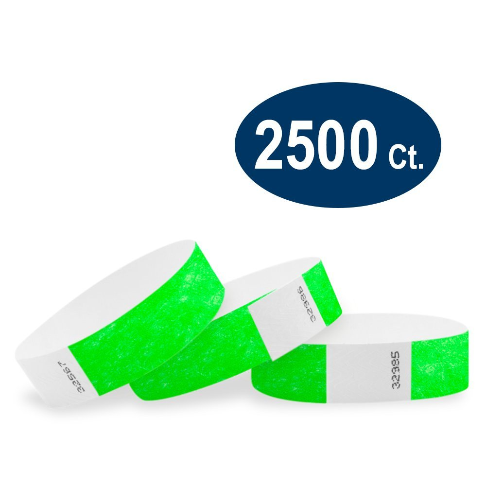 WristCo Neon Green 3/4'' Tyvek Wristbands - 2500 Pack Paper Wristbands for Events