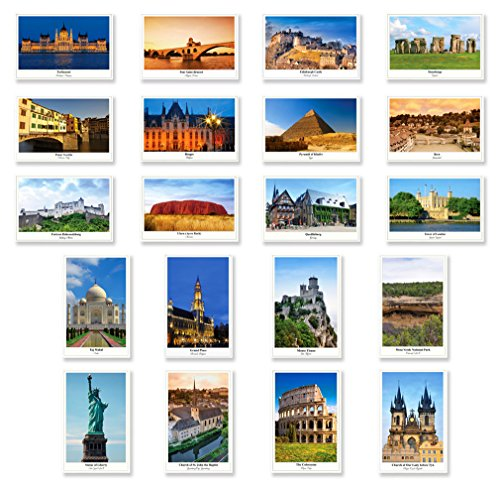 (UNESCO postcard set of 20. Made in USA. Quality post card variety pack depicting UNESCO word heritage sites postcards.)