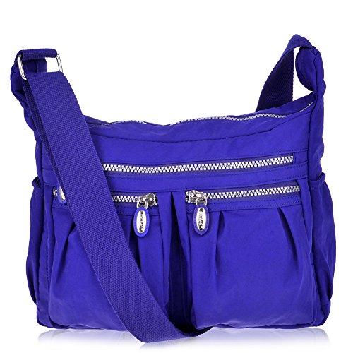 Vbiger Shoulder Bags Messenger Handbags Multi Pocket Waterproof Crossbody Bags (Blue) (Fabric Handbags)