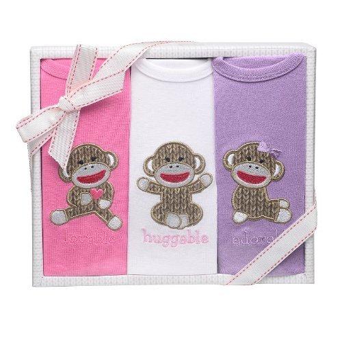 Baby Girl Sock Monkey 3pk Bodysuit Gift ()