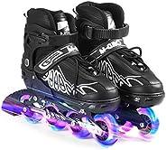 Lixada Inline Skates Adjustable Roller Blades Inline Roller Skates Blades with Light Up Wheels and Storage Bag