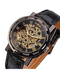 GuTe Classic Steampunk Black Golden Mechanical Wristwatch Hand-wind Skeleton Luminous