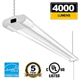 Linkable 4FT LED Shop Lights for Garage BBOUNDER 40W 4000 Lumen 5000K Daylight Super Bright Utility Light Fixture Hanging Mounting Garage Light for Warehouse Garage Workbench Recreation Room (1 Pack)