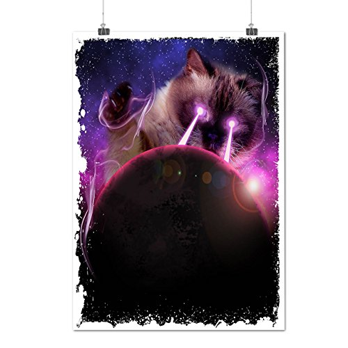 Space Cat Laser Eye Funny Kitty Matte/Glossy Poster A2 Wellcoda