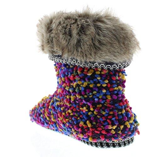 Isaac Mizrahi Womens Annamarie Soft Plush Tweed Nubby Boucle Knit House Slipper Bootie with Fur Cuff Multi YzeZgaJgI
