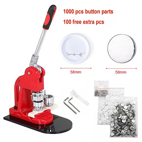 Slendor 2-1/4 inch 58mm Button Badge Maker Machine with 1000 Pcs Button Parts and Circle Cutter and Extra 100 Buttons