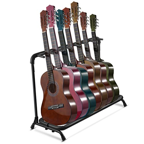 flexzion multi guitar stand 7 multiple holder instrument display stand folding. Black Bedroom Furniture Sets. Home Design Ideas