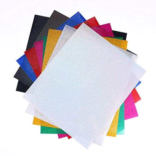 (9PCS Glitter Heat Transfer Vinyl Sheets 9 - Colors Iron On PU HTV Sheets for T-Shirt Silhouette Cameo Cricut Machines Craft Cutters 12 by 10 Inches)