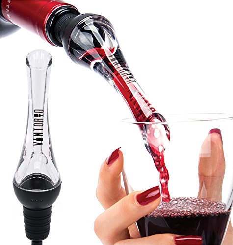 Vintorio Wine Aerator Pourer – Premium Aerating Pourer and Decanter Spout (Black)