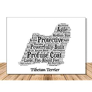 Tibetan Terrier Dog Wall Art Print - Personalized Pet Name - Gift for Her or Him - 11x14 matted - Ships 1 Day 11