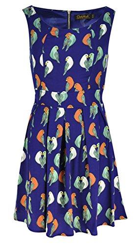 Femmes sans manches robe de soirée avec motif de perroquet