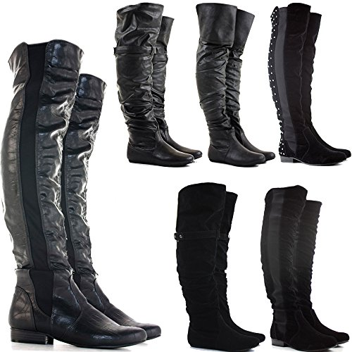 OVER HEEL SIZE Leather WOMENS CALF 8 3 STYLE HIGH BOOTS STRETCH Black KNEE WIDE LEG WINTER LOW THIGH LADIES FLAT KNEE Faux qOt1vxOaw