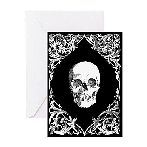 CafePress Black Elegant Skull Greeting Card, Note Card, Birthday Card, Blank Inside Matte