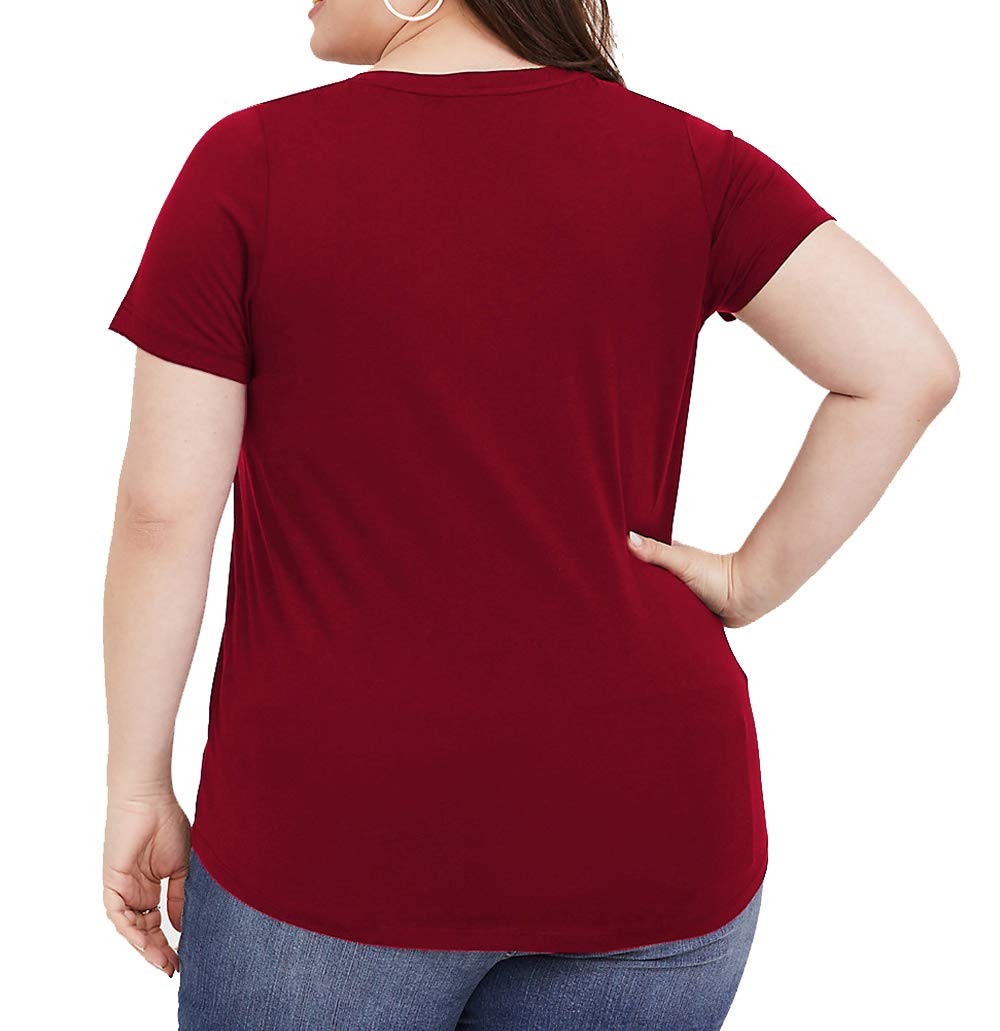 PARPERNA Womens Cute Front Criss Cross Tops Casual Short Sleeve Tee Shirts Wine Red
