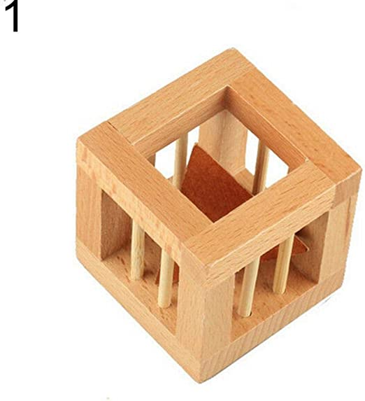 Wooden Wood Take Triangle Out Wooden Lock Puzzles Kids Adult Brain Teaser Toy WE