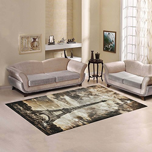 InterestPrint Aged Vintage Retro Picture of Tour Paris Eiffel Tower Area Rug Cover Carpet 7 x 5 Feet, White and Black Art Modern Floor Rugs Mat Cover for Children Kids Home Living Playroom Decoration