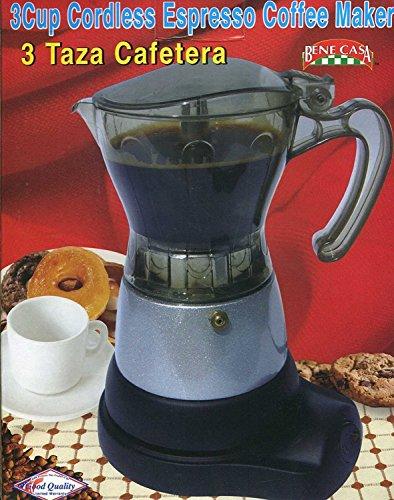 Bene Casa BC-95511 Espresso Coffee Maker, 3 Cup, 12 x 9 x 8, Black