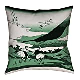 ArtVerse Katsushika Hokusai Japanese Cranes in Green Floor Pillows Double Sided Print with Concealed Zipper & Insert, 28'' x 28''