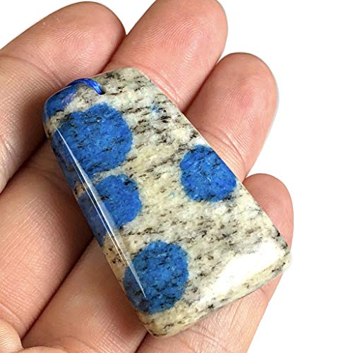 [ABCgems] Rare Himalayas K2 Azurite in Granite (Sometimes Apatite & Malachite Inclusions) 30X47X10mm Top-Drilled Pendant Bead for Jewelry Making ()