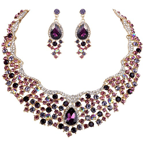 (EVER FAITH Women's Austrian Crystal Flower Cluster Teardrop Necklace Earrings Set Purple Gold-Tone)