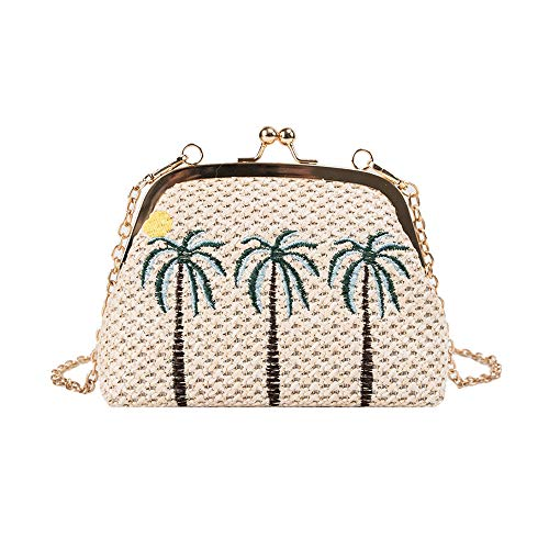 (Women's Straw Clutch Handbag Straw Purse Envelope Bag Wallet Summer Beach Bag Woven Bag Purse Wallet with Long Chain Strap (Palm Trees))