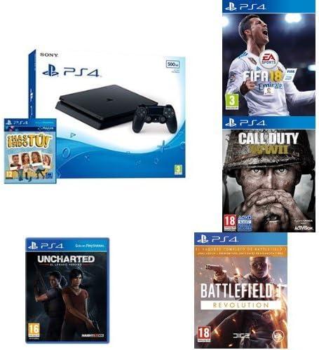 PlayStation 4 (PS4) - Consola De 500 GB, Color Negro + Voucher ¡Has Sido Tú! +