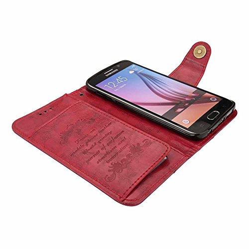 Funda Galaxy S7 Edge, Dfly Retro PU Cuero Página Estilo Construido en 5 Ranuras para Tarjetas Clásico Magnético Chasquido Cierre Soporte Plegable Case Ultra Slim Flip Billetera Carcasa para Samsung Ga Rojo