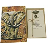 Personalized Handmade 3D Embossed Leather Retro Elephant Pattern Daily Planner Travel Journal Notebook With Greeting Card For Study Birthday Christmas Friends Family Dad Business Partner Gift (Brass)