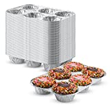 Pack of 20 Silver Foil Muffin Pans – Durable & Non-Stick Disposable Aluminum 6-Cup Cupcake Trays – Perfect Tin Size for Cupcakes, Mini Pies, Mini Quiche, Soufflé - Standard Size