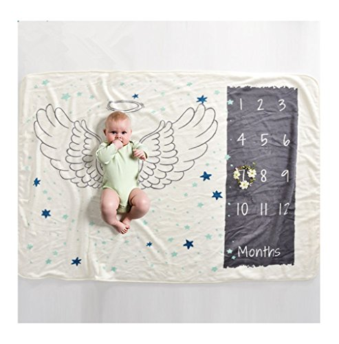 Soft Fleece Milestone Blanket Monthly Photo Prop for Baby Won't Wrinkle like Muslin Perfect for New Moms Large Size 30''x40.3'' (angle) by WHYQZ (Image #2)