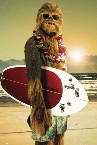"""Star Wars - Movie Poster (Chewbacca with Surfboard) (Size: 24"""" x 36"""") (Poster & Poster Strip Set)"""