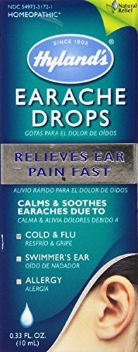 Hyland's Earache Drops, Natural Homeopathic Cold & Flu Earaches, Swimmers Ear and Allergies Relief, 0.33 Ounce by Hyland's Homeopathic (Swimmers Ear Homeopathic)