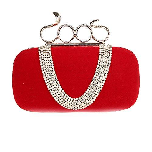Clutch Women Red design Blue Flada Snake Handbags Evening Rhinestones Wedding Clutch Purses head for Flannel for ZPaSwX8qn