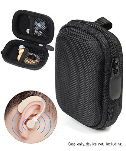 Designed Protective Case for Hearing Aid, Hearing Amplifier, Personal Sound Amplifier, Hearing Device, Listening Device, Strong Mini Case with Mesh Pocket, Universal Design (Ballistic Black)