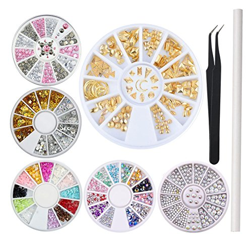 WOKOTO 3D Nail Decorations Kit With Nail Rhinestones Flat Back Mix-Color Bow Ties Metal Studs Glitters For Nails With Tweezers And Rhinestones Picker Pencil