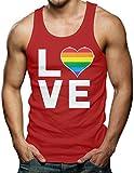 Love (Rainbow Heart) - Gay & Lesbian Men's Tank Top T-shirt (Large, RED)