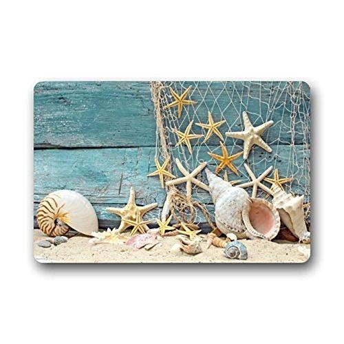 Coastal Non Slip Doormat Home Office Floor Mat Rug, Machine Washable Customize Sea Beach Starfish Print,Indoor Kitchen Bathroom Entrance Door Mats Rubber