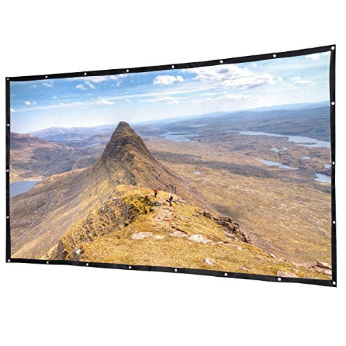 Safstar Portable 120 inch Projector Screen 16:9 HD Foldable PVC Indoor Outdoor Movie Screen for Home Theater Projection Cinema (Installed with Metal Holes)
