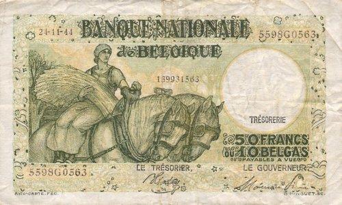 Belgium 1944 50 Francs, Pick 106 Francs Pick
