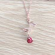 Necklaces for Women,la luen Necklace Rose Pendant Flower Jewelry for Girl Women Wife Friends Gift